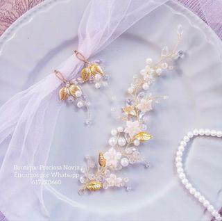 Conjunto de Joya : Tiara + Pendientes tocado novia
