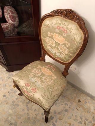 Silla 6 sillas clásicas tapizadas comedor Luis XVI