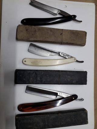 Navajas de barbero antiguas con estuche original