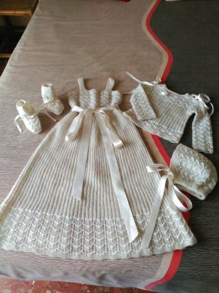Vestido para bautizo lana muy fina y perle T 0-3 m