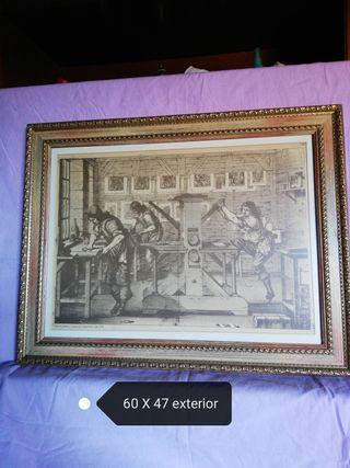 Cuadro taller de Grabado siglo XVII
