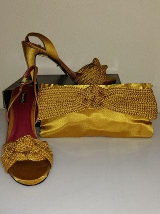 Tintoretto juego de sandalia y cartera