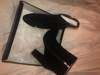 Suede heeled ankle boots