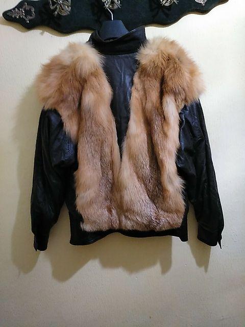 Cazadora años80 piel y zorro