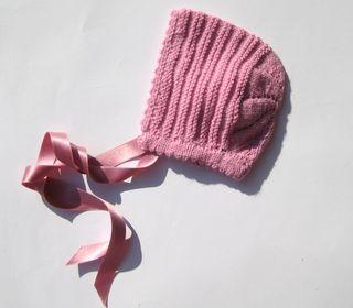 Capota lana rosa malva bebé 3-6 meses, nueva