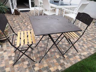 Conjunto jardín mesa + 2 sillas