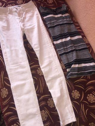 Jeans blancos con camiseta hm