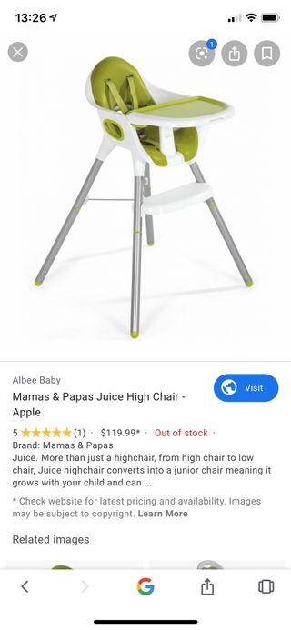 Mamas Papas trona para comer verde