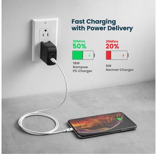 Apple MFi Certificado RAMPOW Cable USB C a Lightning Cable iPhone 11 Tipo C Power Delivery 18W 3A iPad Pro 3M iPad Air Compatible con iPhone X//iPhone XS//iPhone XS MAX//iPhone XR//iPhone 11