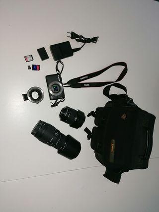 cámara Canon m10 y equipo completo canon