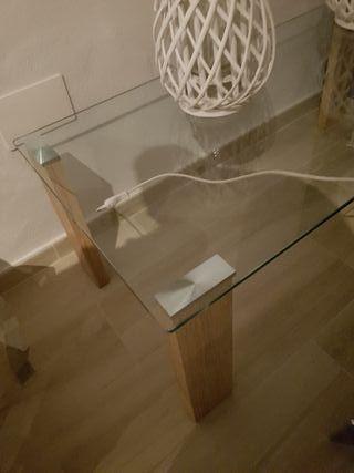 mesa de centro cristal cromo y madera