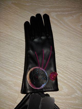 guantes desigual efecto piel color negro