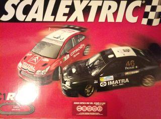 SCALEXTRIC: Rally C1 + EXTRAS (9062 + 8408) Caja