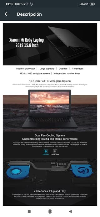 Xiaomi Mi Ruby 2019 Notebook 15.6 pulgadas