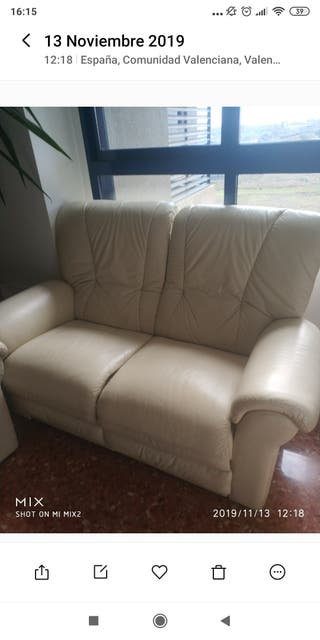 sofá de 2 plazas piel blanco