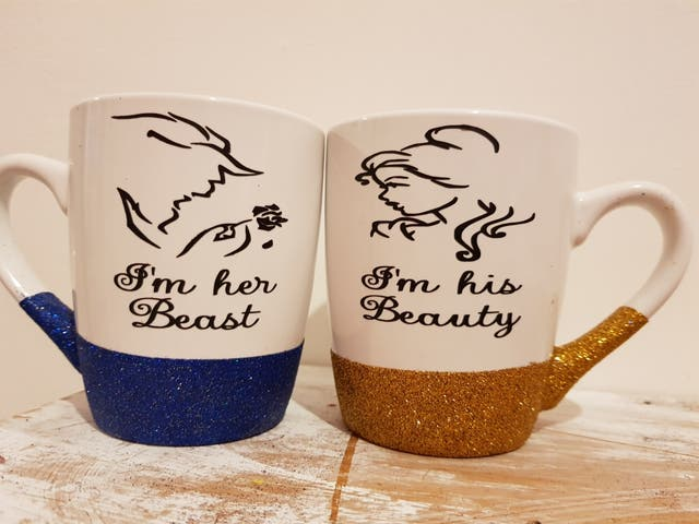 couples beauty and the beast mug set