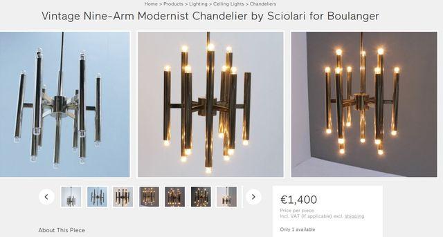 Lámpara de Sciolari Chandelier vintage años 60 70