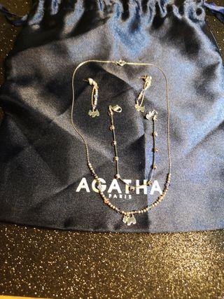 conjunto collar agatha de plata con brillo