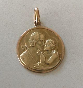 Médaille or jaune 18k saint christophe vintage 60s