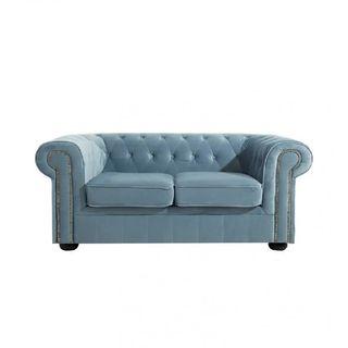 Sofá Omega chester de 2 plazas de terciopelo azul