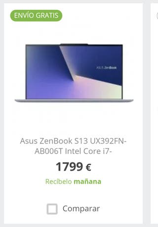 Portatil Asus Zenbook S13 UX392FN ultra fino nuevo