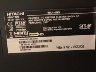 42 inch hitachi LCD EXCELLENT CONDITION ETHERNET