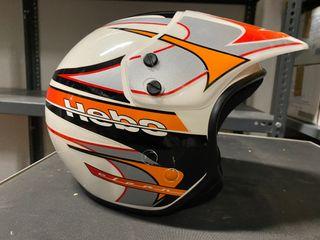 Casco moto Hebo trial carbono blanco