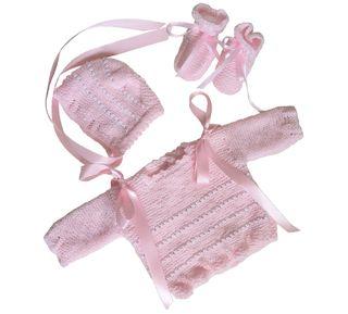 Conjunto bebe 0-3 meses lana rosa, nuevo