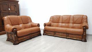 Sofas Rusticos de Piel y Roble