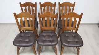 Sillas Rusticas con asiento de piel