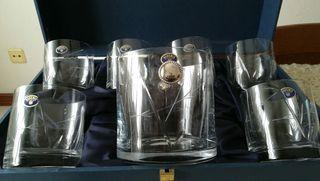 juego de vasos y cubitera de cristal de bohemia