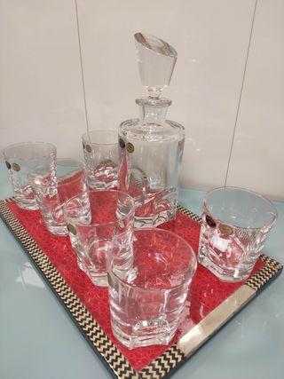 Set de Whisky / Licor de Cristal de Bohemia