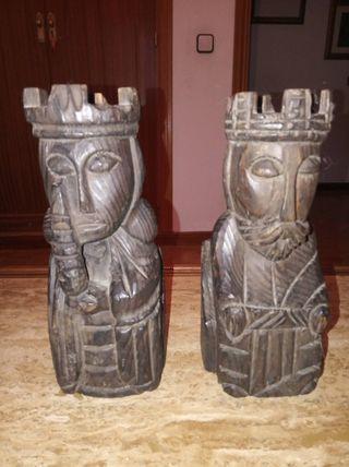 Sujetalibros de madera tallada, reyes