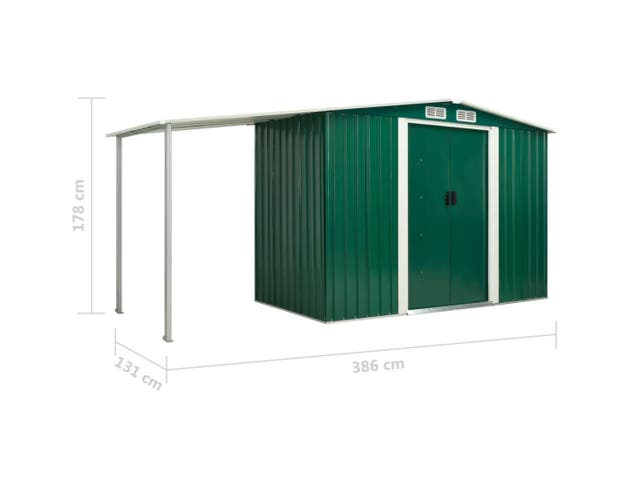 Cobertizo Caseta de Exterior Acero 386x131x178 cm