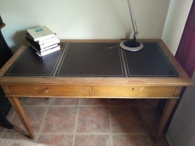 Mesa de escritorio madera y piel