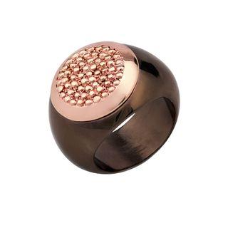 anillo bañado rosa y chocolate