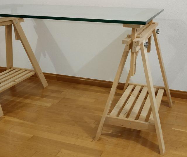 Escritorio (Caballetes + Cristal) 140 x 75 cm