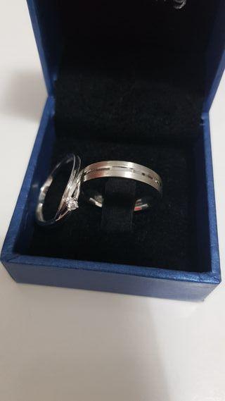 anillos 9k oro blanco