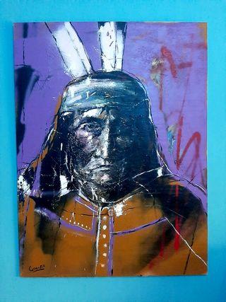 cuadro tecnica mixta indio apache