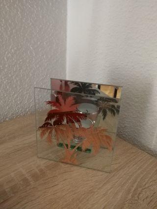 Portavela cristal y espejo