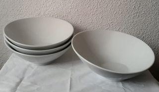 Juego 4 platos pasta porcelana