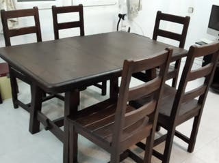 Conjunto mesa y sillas madera estilo rústico
