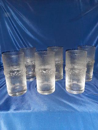 6 vasos altos de cristal fino forma bambú