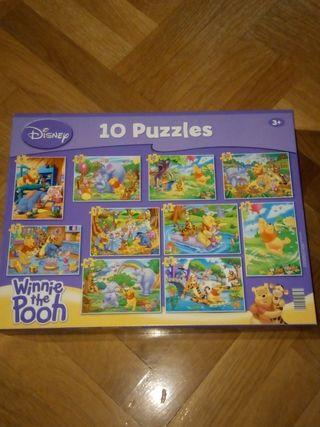 10 puzzles Winnie the Pooh. Disney