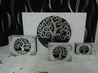 conjunto 3 cajas y cuadro árbol de la vida