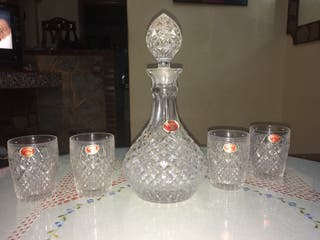 Licorera y 4 vasos Cristal Bohemia