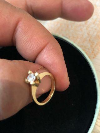 Anillo oro 14 kilates niños 2 año con diamante