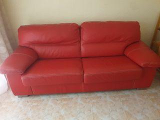 Sofá piel rojo