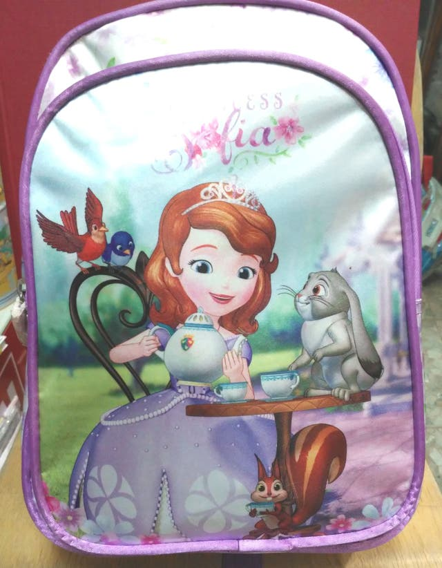 mochila infantil sofia 30cm alto