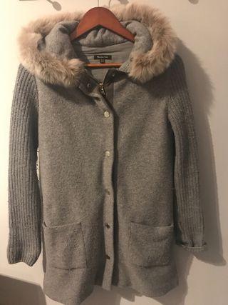 Abrigo gris combinado paño y lana